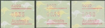 Australian Framas: Kangaroo Button Set 33c, 45c, 90c: Post Code 4000 Brisbane